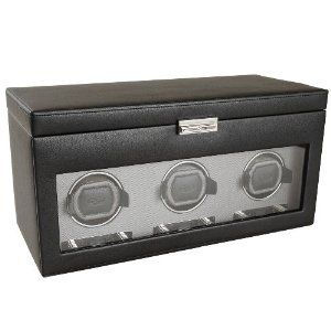 Wolf Designs 456302 Module 2 7 Triple Watch Winder With Cover Storage And Travel Case