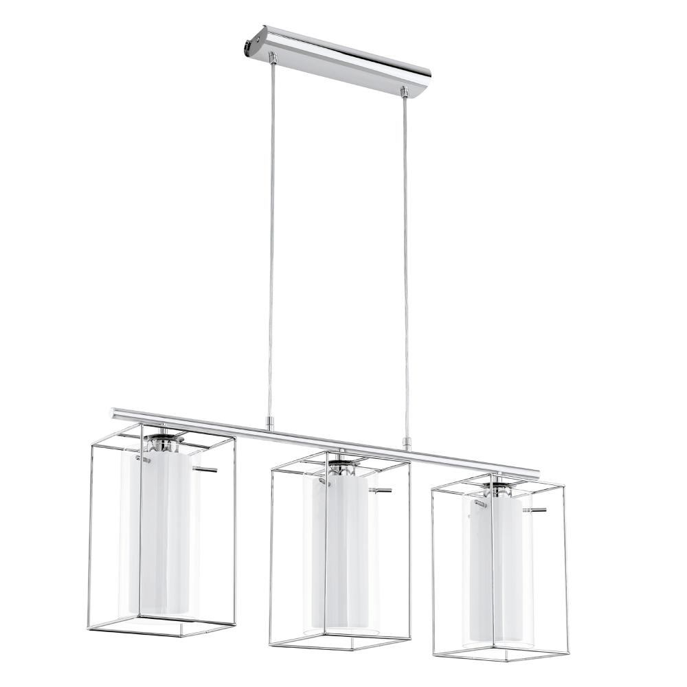 Eglo Loncino Triple Pendant Light In Chrome And Satinated Glass   Kitchen  Lighting From Dusk Lighting
