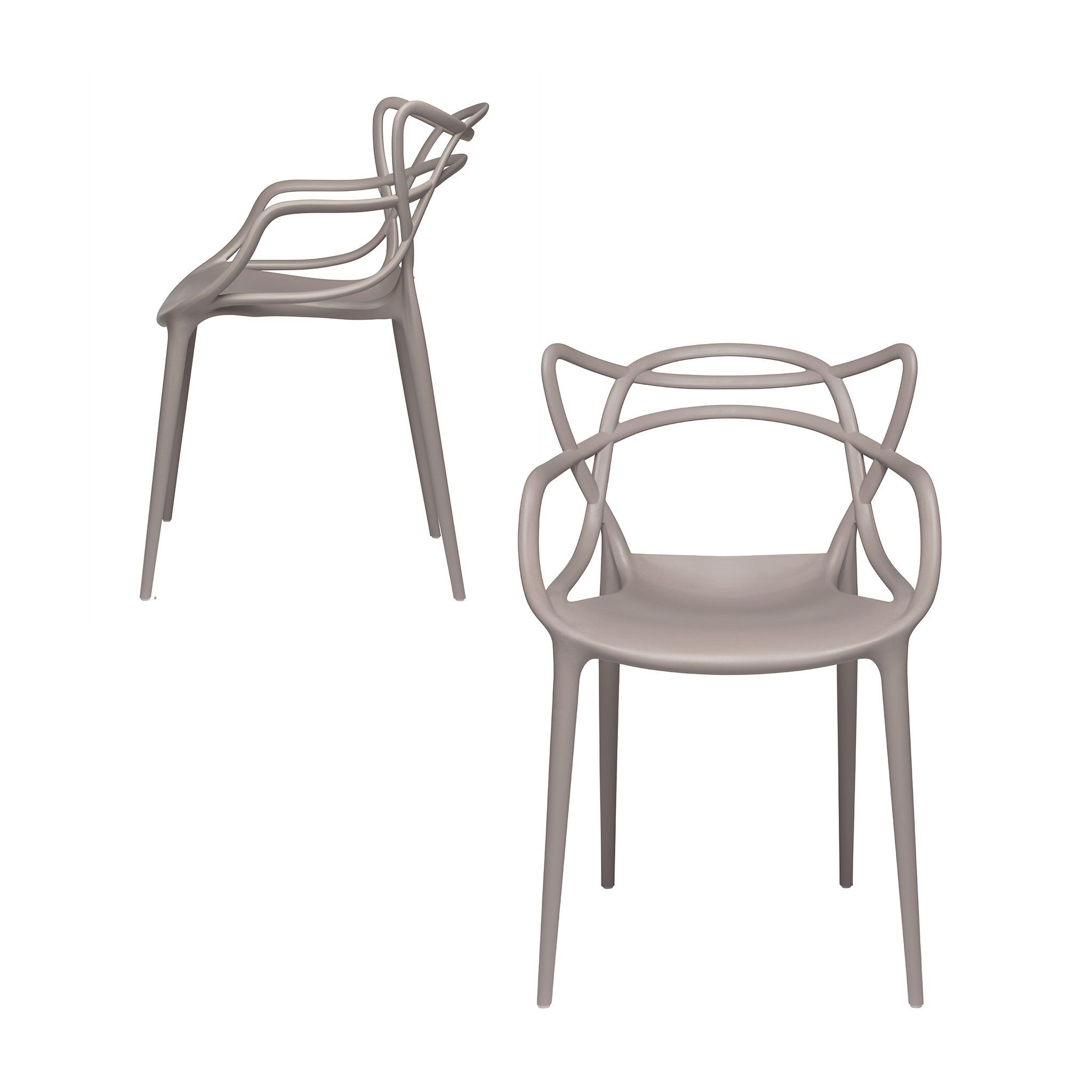 Set Of 2 Masters Entangled Chair Grey Masters Chair Modern