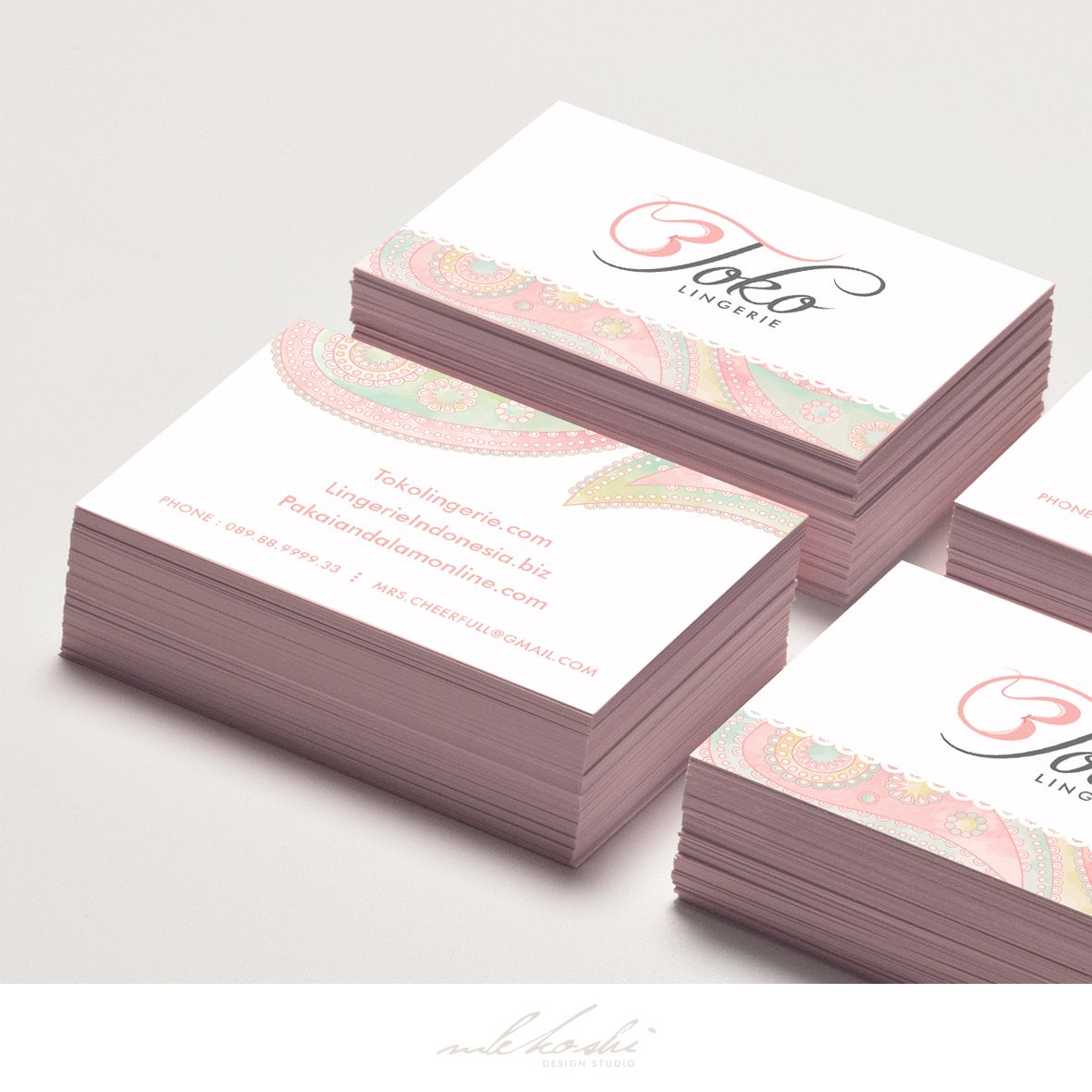 Chic and feminine business card we\'ve created for lingerie company ...
