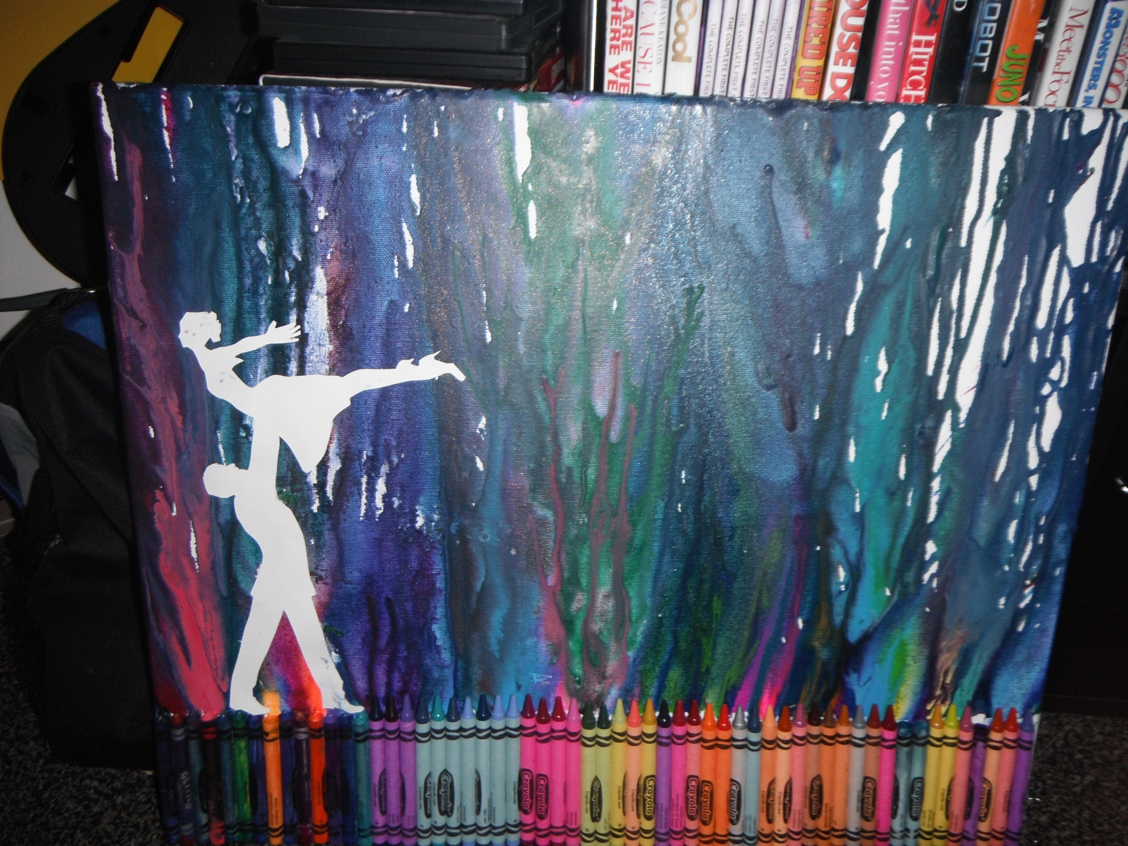 Finished crayon art! Dancing in the northern lights!!!