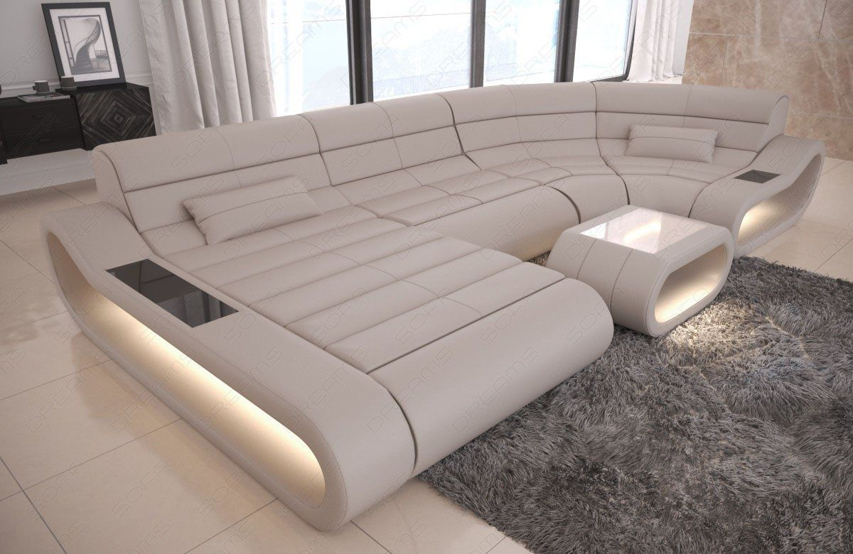 Luxury Sectional Sofa Concept U Shape Design Couch Big Led Lights Ottoman White Sofa Ideas Of White Leather Corner Sofa Living Room Sofa Set Sofa Furniture