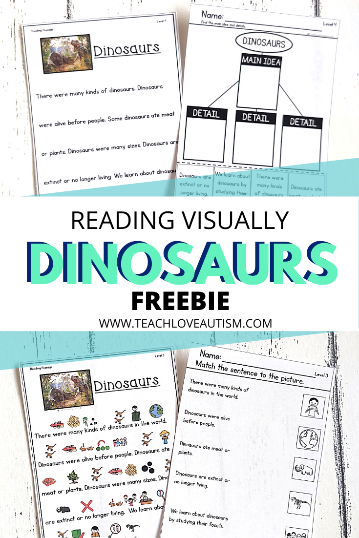 Reading Comprehension Freebie About Dinosaurs Teach Love Autism In 2021 Elementary Special Education Classroom Special Education Reading Differentiated Reading Activities [ 1102 x 735 Pixel ]