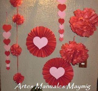 Abanicos pompones y corazones decoracion de fiesta dia for Decoracion amor y amistad