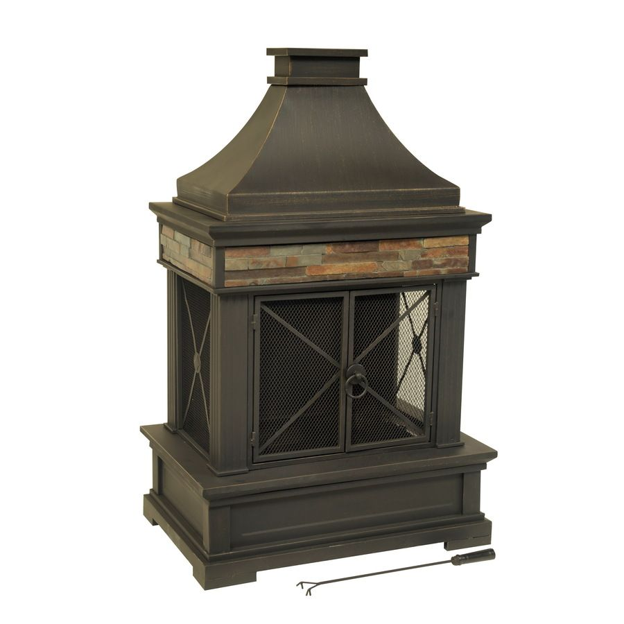Shop Allen Roth Brown Steel Outdoor Wood Burning Fireplace At