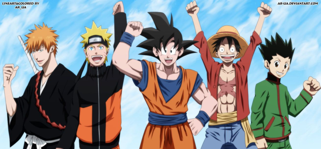 Lineart And Colored Me Original At The Left On The Right Kurosaki Ichigo Bleach Uzumaki Naruto Naruto Son Gok Bleach Anime Ichigo Anime Anime Crossover