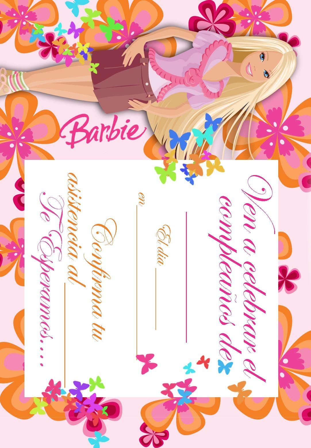 BARBIE COLORING PAGES: Imprimir gratuitamente tarjetas de invitación ...
