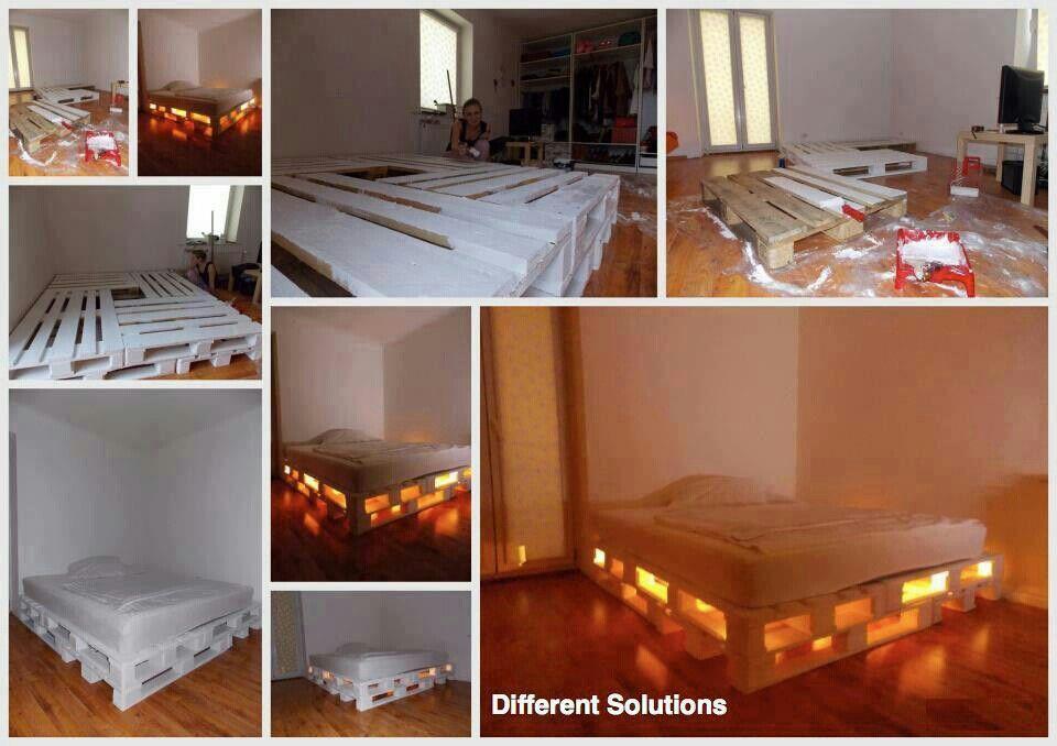 Skid Bed With Lighting Diy Pallet Bed Diy Pallet Furniture