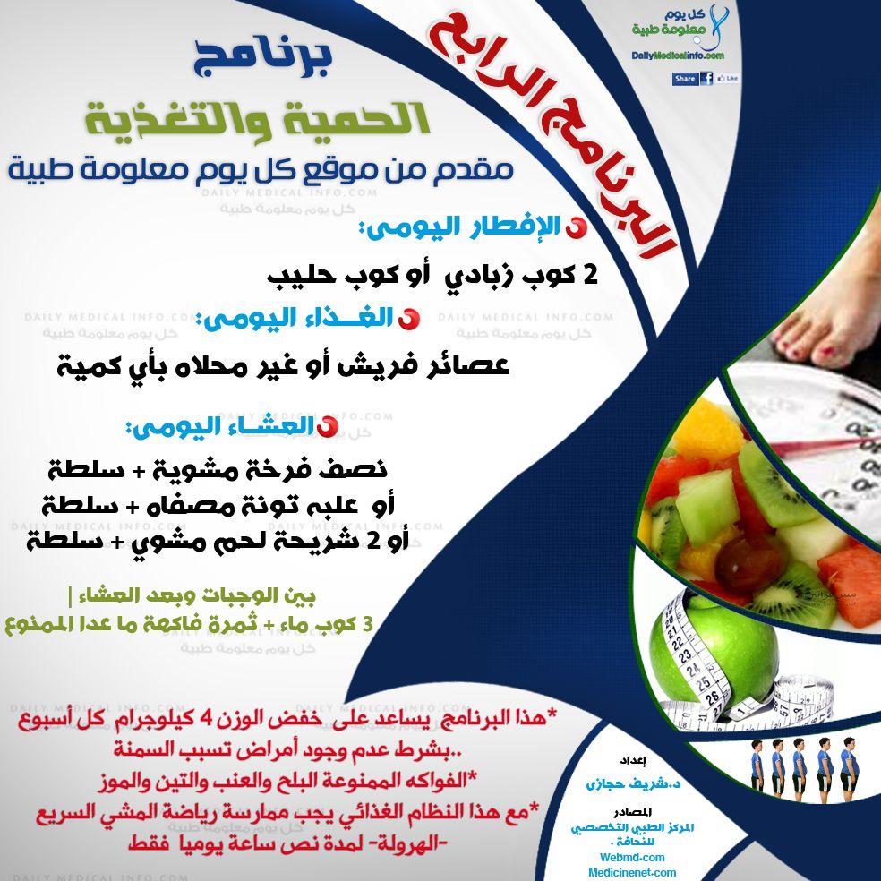 نظام غذائي للريجيم من كل يوم معلومة طبية البرنامج الرابع Www Dailymedicalinfo Com Health Facts Food Health Fitness Food Workout Food