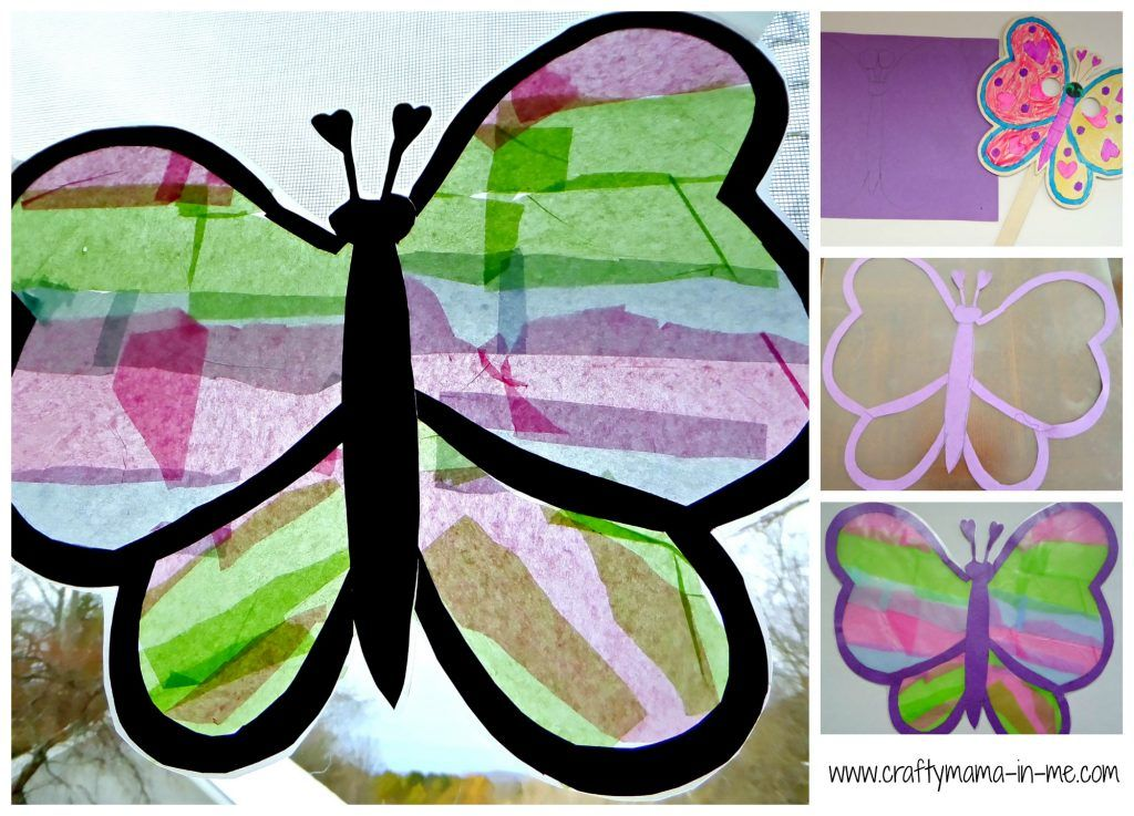 Easy Kid Craft Colorful Spring Butterfly Suncatcher is part of Kids Crafts Butterfly Spring - Brighten up your windows with a beautiful kidmade Colorful Spring Butterfly Suncatcher