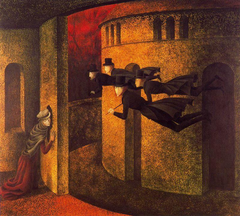 Banqueros en acción (1962. Óleo sobre masonite. 61 x 70 cm)