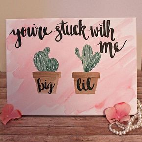 Big Little Canvas Big Lil Sorority Quote Big Little Reveal Alpha Gamma Delta Cactus Watercolor Big Little Gift Dorm Decor #biglittlereveal