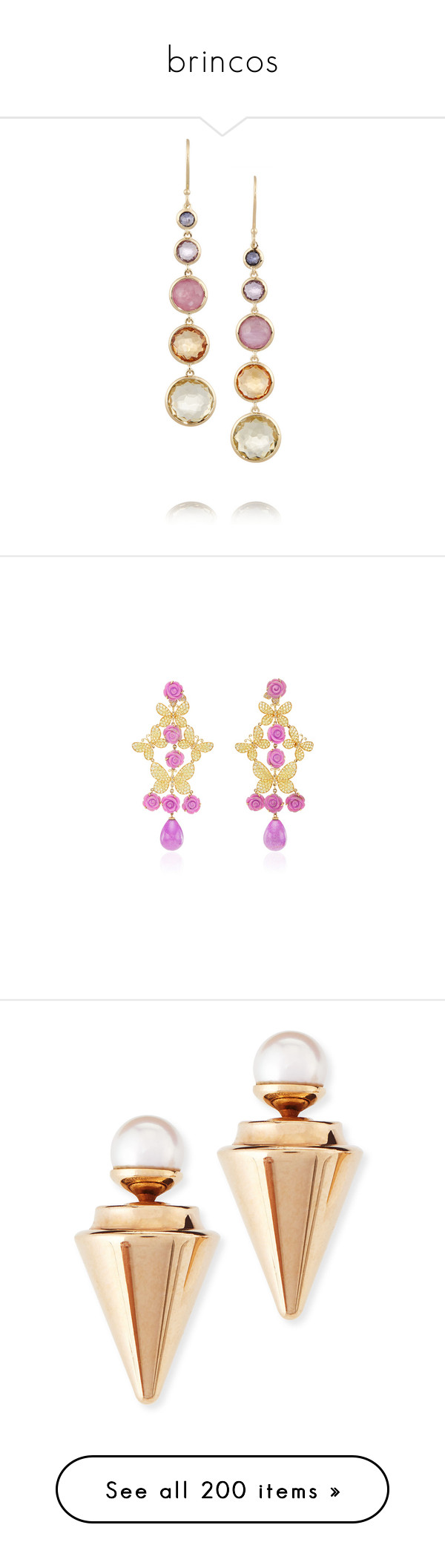 """""""brincos"""" by angelicallxx ❤ liked on Polyvore featuring jewelry, earrings, gold, multi stone earrings, renaissance jewelry, orange earrings, ippolita, rock jewelry, accessories and pearl earrings jewellery"""