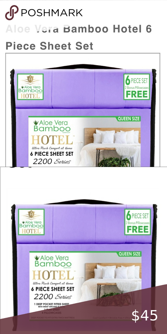 Aloe Vera Bamboo Hotel Sheets King In 2020 Hotel Sheets King Sheets Bamboo Sheets Bedding