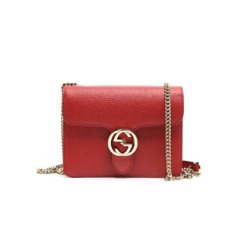fc68b11b7dc0b4 GUCCI Red Pebbled Leather INTERLOCKING G lock Cross-Body CHAIN bag Marmont–  MyDesignerly
