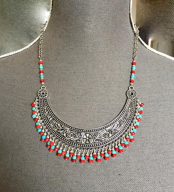 Ethnic necklace, silver, bib, flowers, beads, ceramic, red, turquoise
