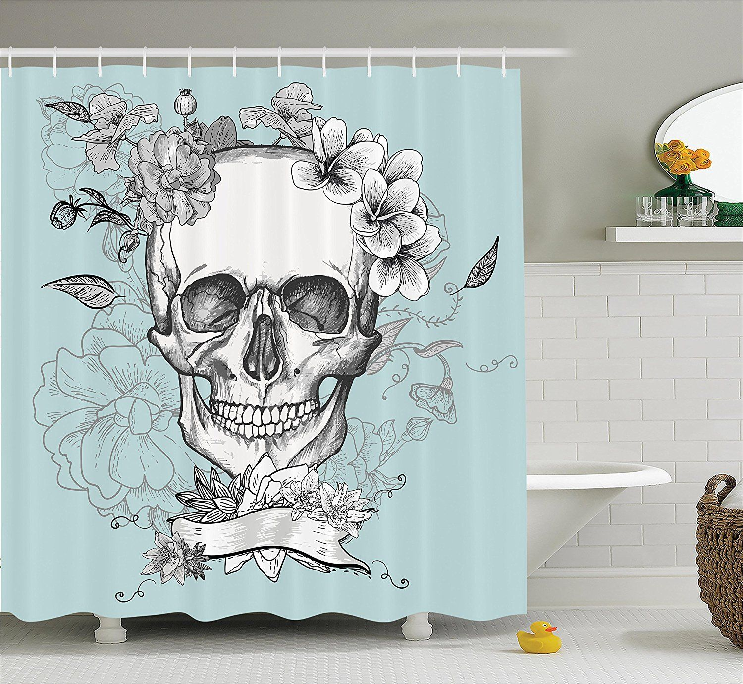 Day Of The Dead Floral Skull Shower Curtain Skull Shower Curtain