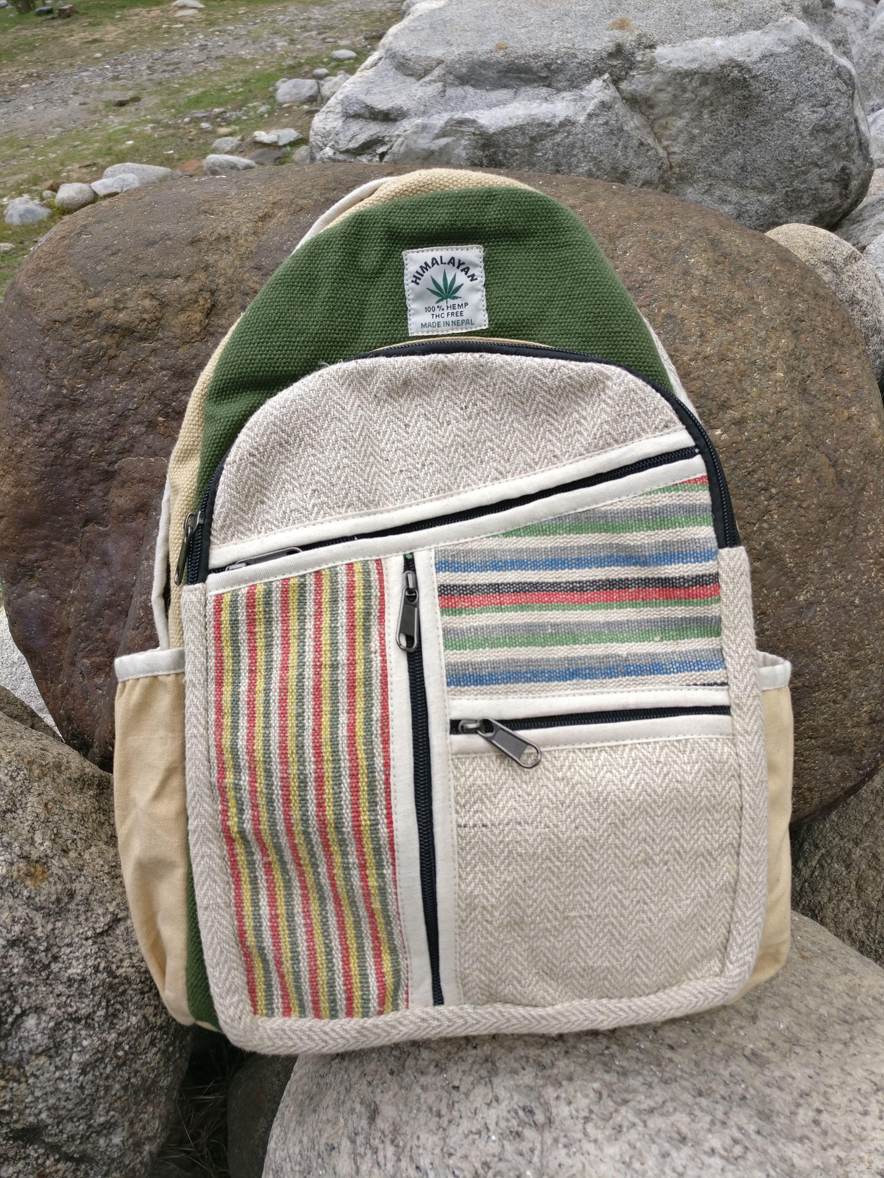e50185cb24c2 Himalayan hemp bag with warm colours Unique backpack 100% organic fabric bag   handmade Environment friendly hemp fabric  hempfashion