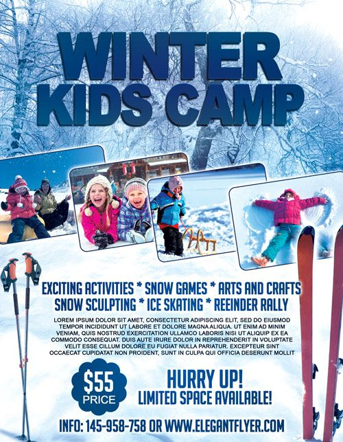 Winter Kids Camp Free Flyer Template  HttpFreepsdflyerCom