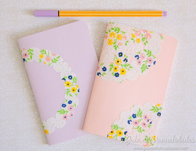 Cuadernos Decorados Con Blondas De Papel Manualidades