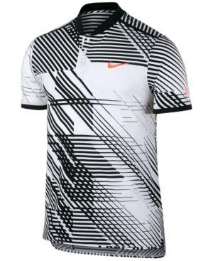 24b3f70d40f4 Nike Men s Advantage Dri-fit Roger Federer Printed Tennis Top - White Black  2XL