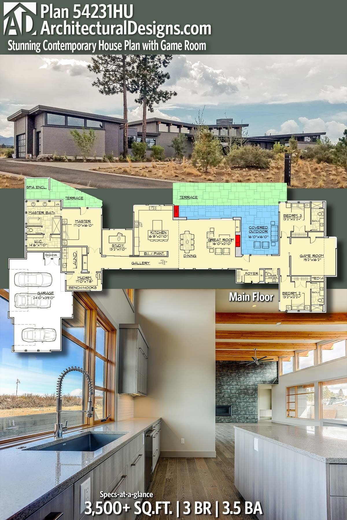 Architectural Designs Modern Plan 54231HU gives you