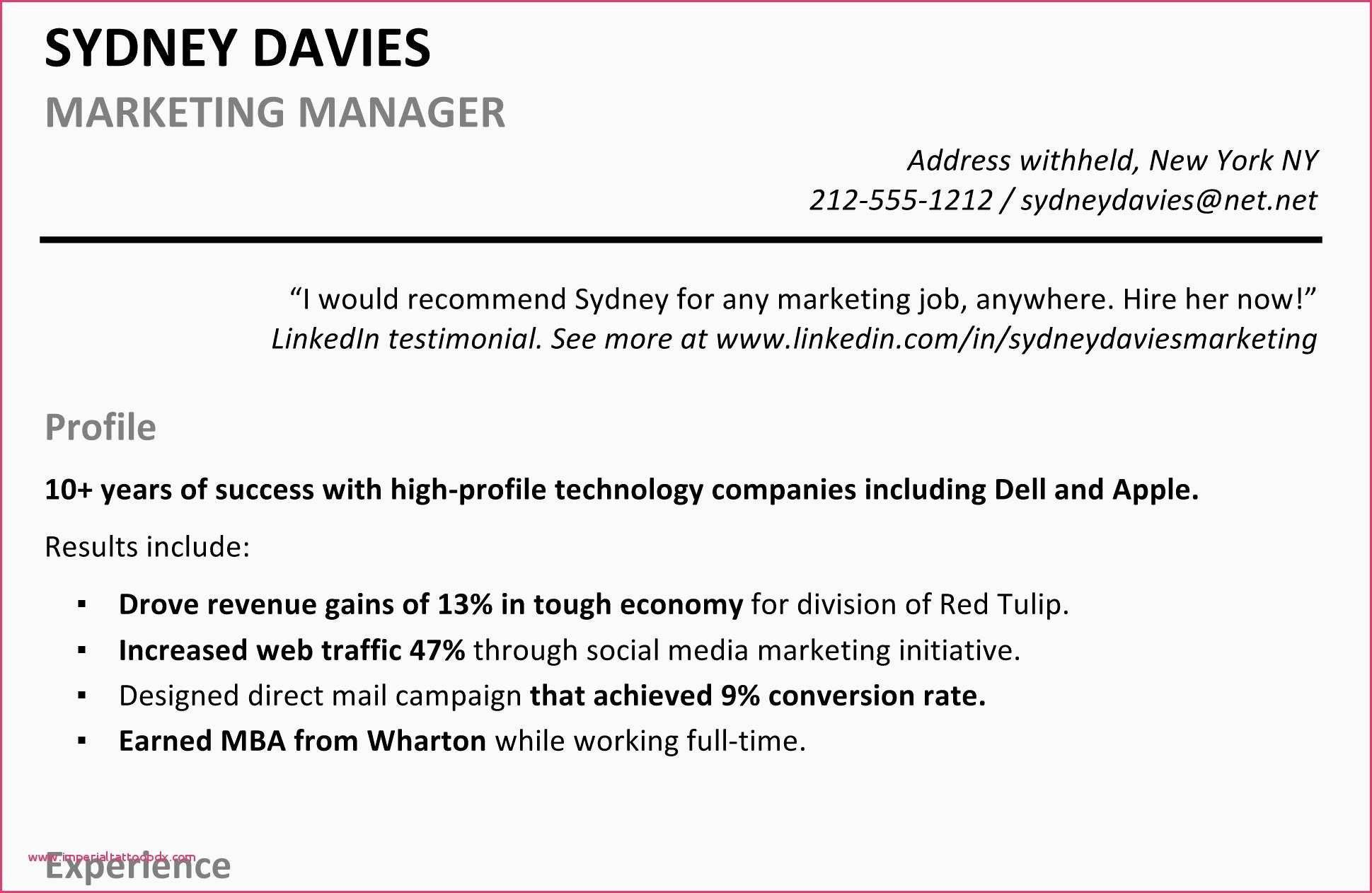 Include Linkedin On Resume Profile Examples for Resume