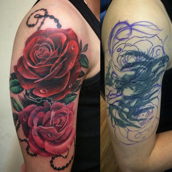 Pin By Emmy Lynn On Ink Rose Tattoo Cover Up Cover Up Tattoos Cover Tattoo
