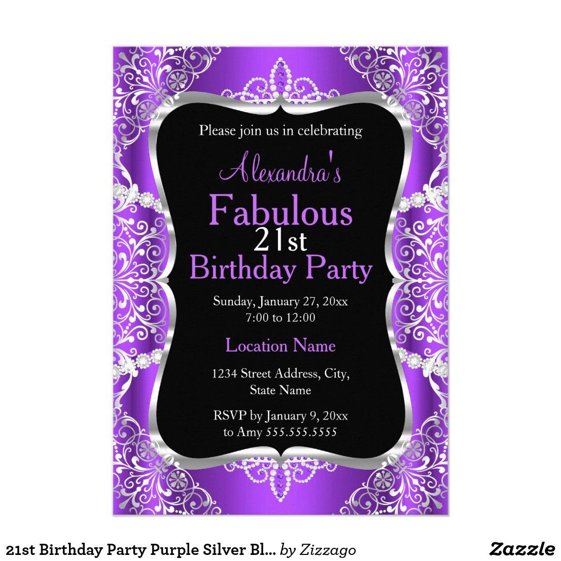 21st Birthday Party Purple Silver Black Invitation 21st Birthday ...