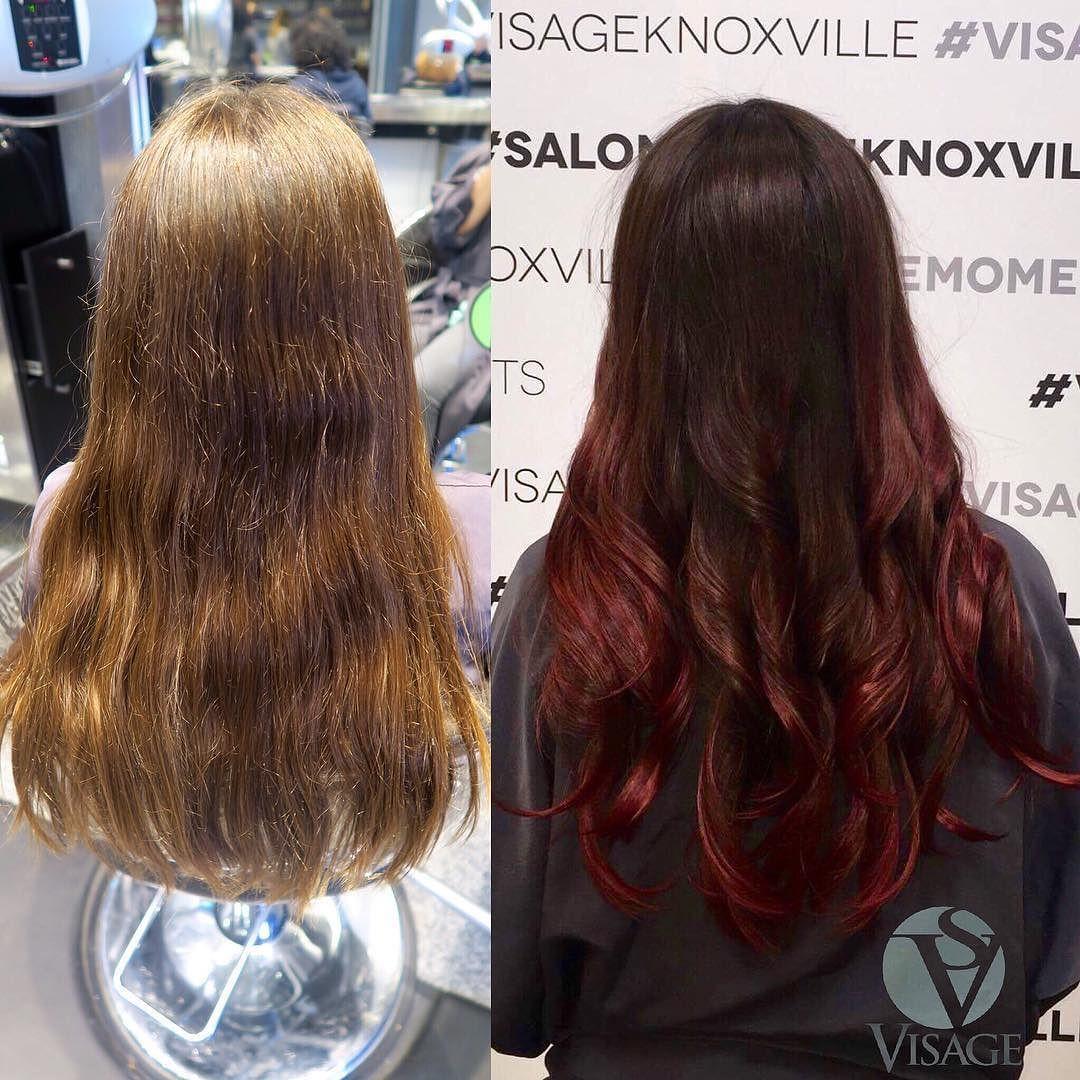 Deep scarlet ombré!  Before & After Color: Tori/ @torimorsch  #visagemoments #balayagedandpainted #beforeandafter #transformation