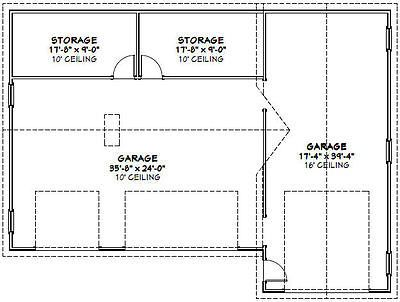 54x40 1 Rv 3 Car Garage 1 944 Sq Ft Pdf Floor Plan Rv Garage Ideas