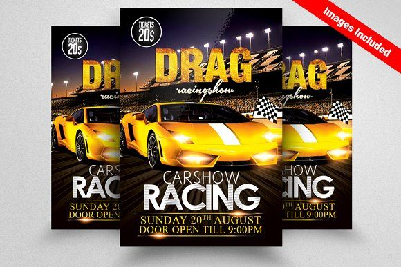 car racing flyer template by design up on creativemarket graphic