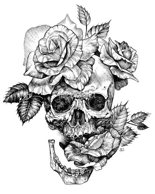 ink skull and roses by sarah wilson design tattoo art. Black Bedroom Furniture Sets. Home Design Ideas