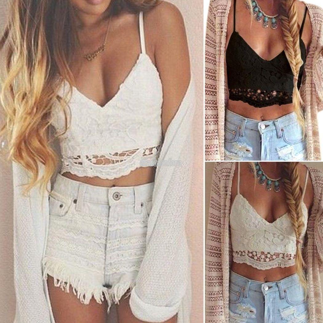 Cold Shoulder Frill Crop Top Cami Strap Summer Holiday Bralet Womens Vest Top