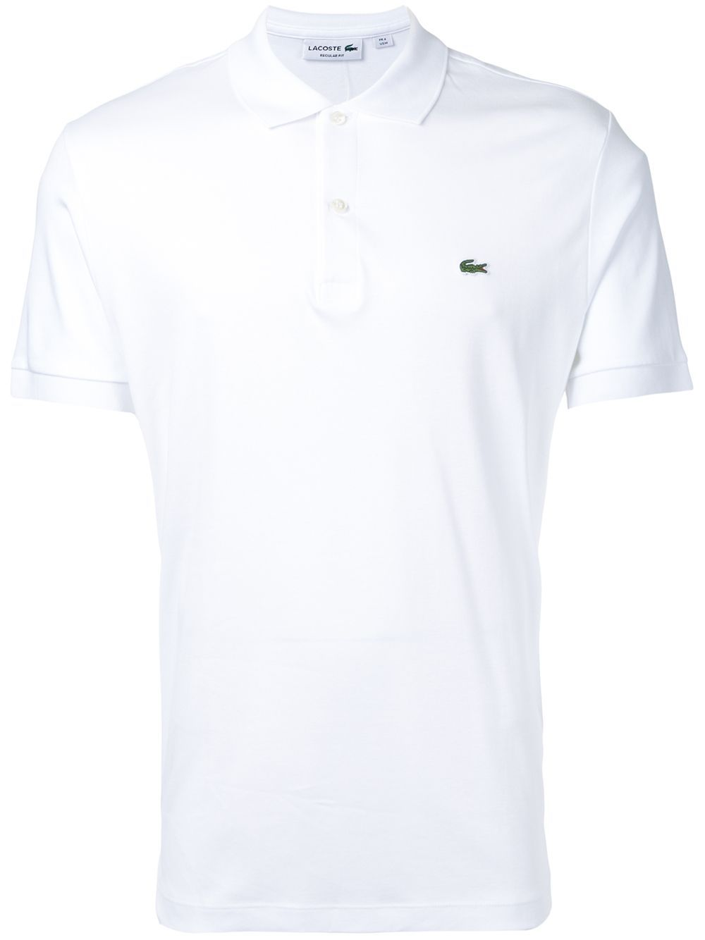 White cotton logo patch polo shirt from Lacoste.