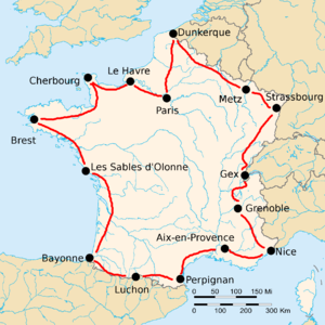 Map Of Provence France With Cities.Map Of France With 15 Cities Marked By Black Dots Connected By Red