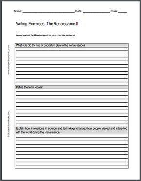 Renaissance Writing Exercises Sheet   Free To Print Pdf File  Renaissance Writing Exercises Sheet   Free To Print Pdf File