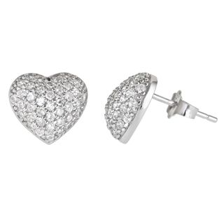 Sterling Silver Heart Micropave Stud Earring with Cubic Zirconia
