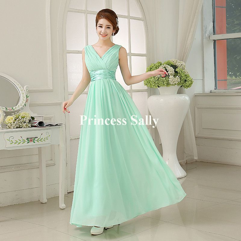 bce7ca7716 Mint Green Bridesmaid Dress Chiffon V neck Cheap Prom Party Dresses Under  50 Vestido De Noiva Robe Demoiselle d honneur