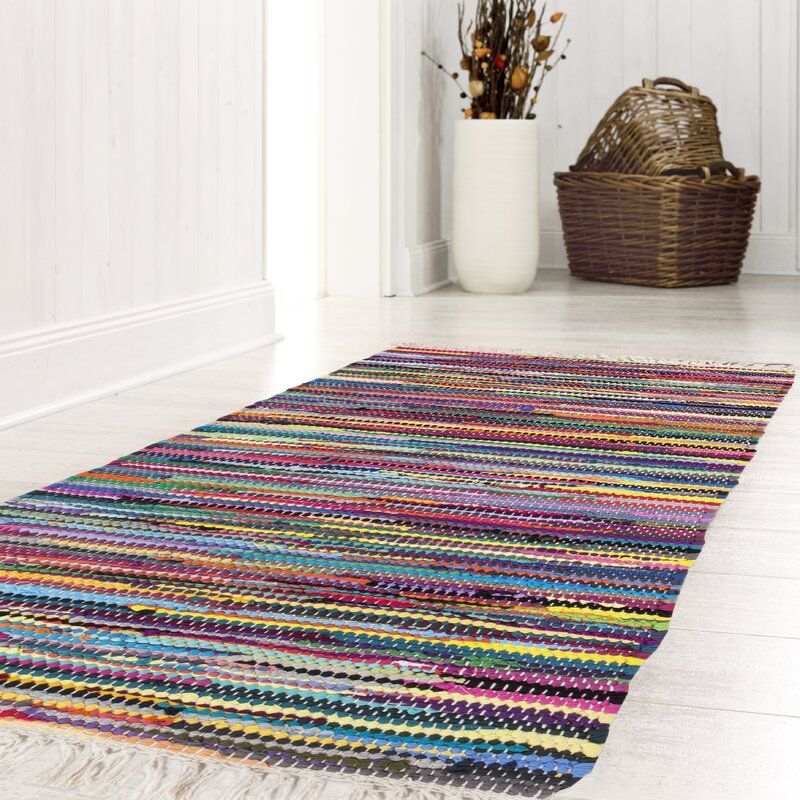 Multi Woven Cotton Yellow Pink Rug
