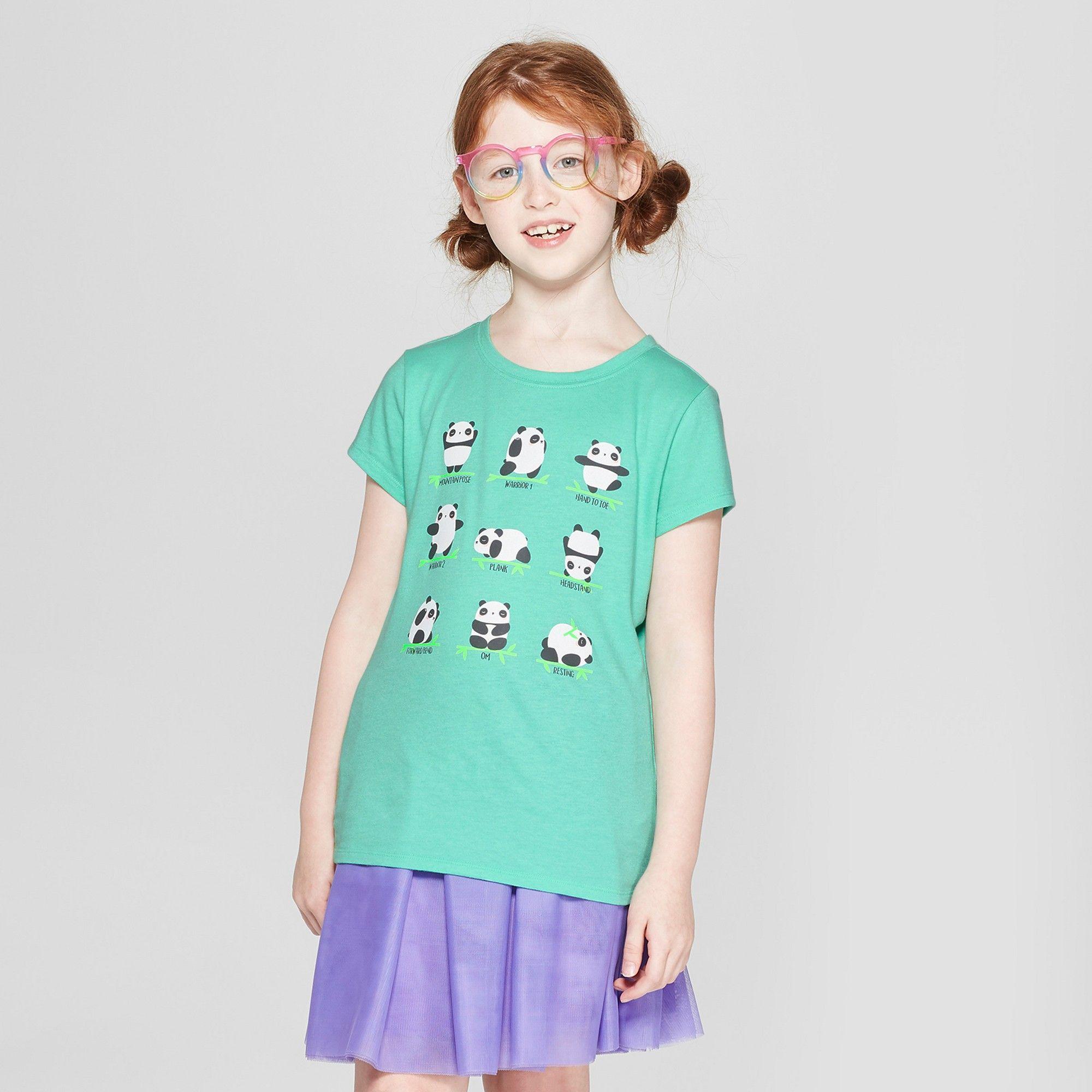 2442849c060 Girls' Short Sleeve Yoga Pandas Graphic T-Shirt - Cat & Jack Green ...