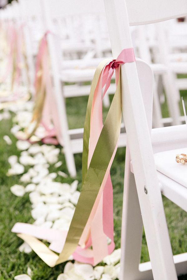 Pink And Green Ribbon Decorated Wedding Chairs For Outdoor Wedding