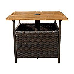 Sunlife Outdoor Pe Wicker Stand Side Table Garden Patio Tea Coffee Table With Umbrella Hole Wicker Side Table Patio Side Table Solid Wood Coffee Table