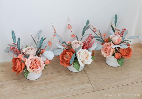 Listing for one,Burnt Orange Paper Flowers Wedding Centerpiece Ready to use,Wedding Decoration, Diameter 6 inches