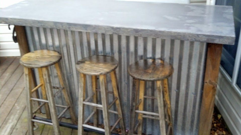 Concrete bar top bar project phase 3 pinterest for Outdoor bar top ideas