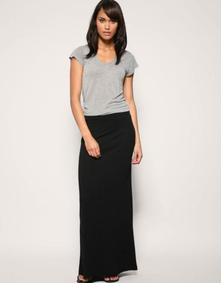 Details about WOMENS LADIES LONG STRETCH JERSEY MAXI SKIRTS FULL ...