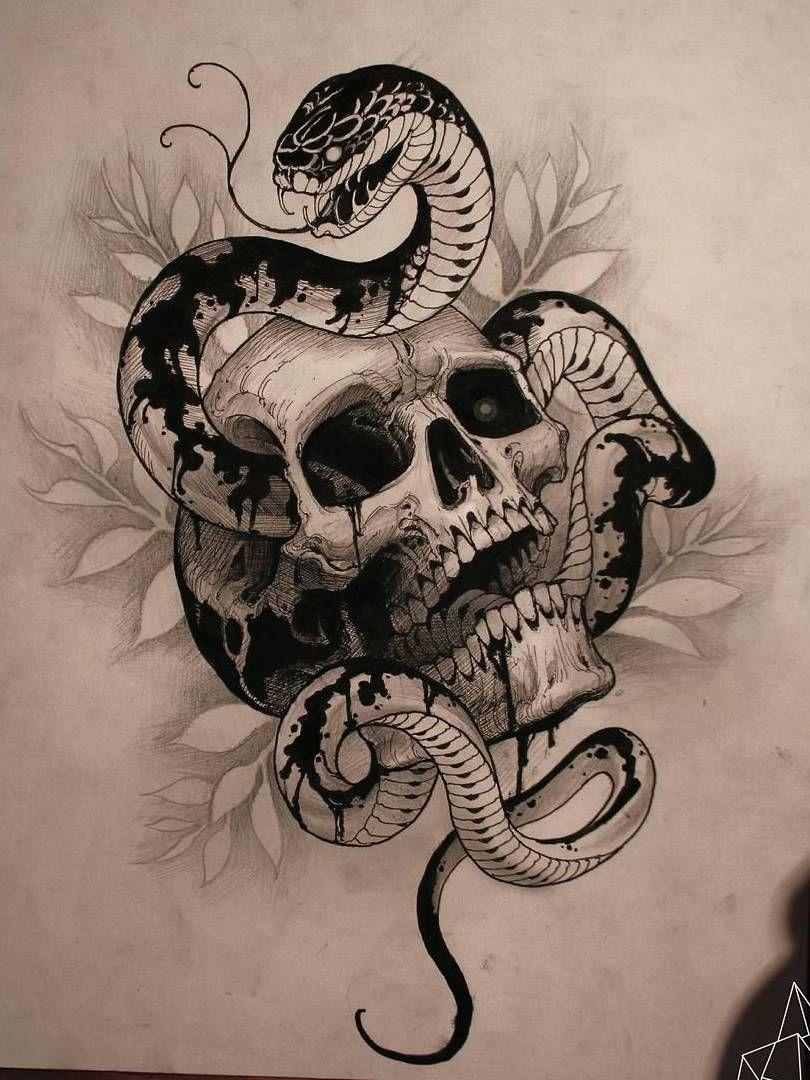эскиз татуировки змеи извивающейся сквозь череп Japan эскиз
