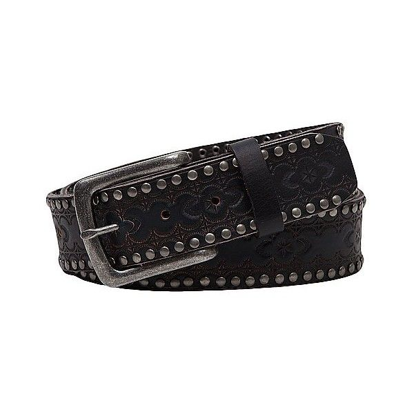 BKE Studded Belt ($35) ❤ liked on Polyvore featuring accessories, belts, black, leather belt, real leather belt, buckle belt, studded belt and studded leather belt