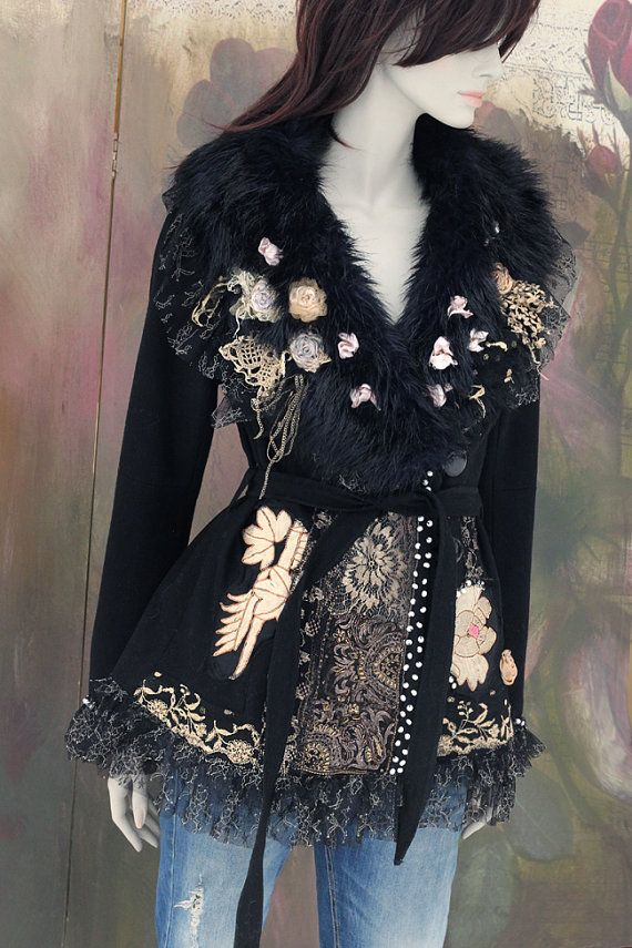 Deco winter jacket-black wool blend  jacket, bohemian romantic, altered couture, embroidered and beaded details,old laces