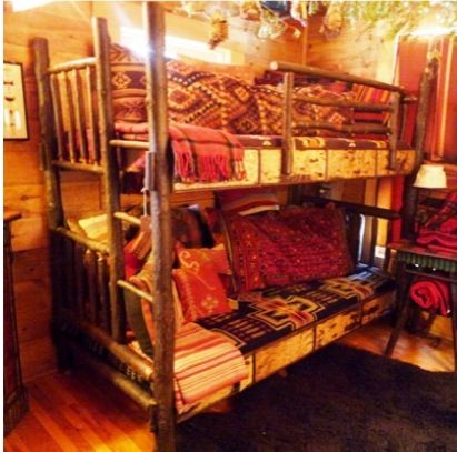 Rustic Hickory Bunk Bed Complete With Oak Side Rails Decorated With